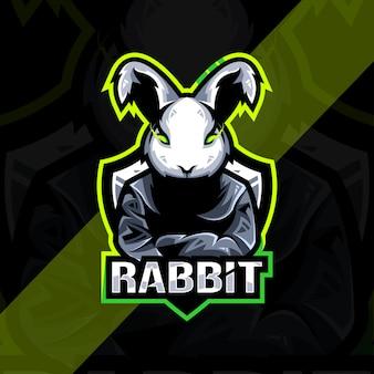 ウサギのマスコットのロゴのeスポーツデザイン Premiumベクター