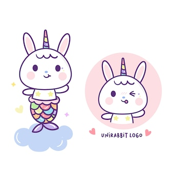Rabbit mermaid in cute unicorn vector
