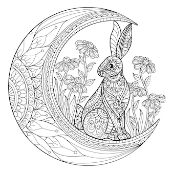 Rabbit on the moon. hand drawn sketch illustration for adult coloring book