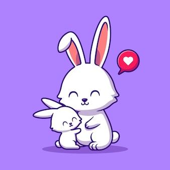 Rabbit mother and baby rabbit cartoon illustration