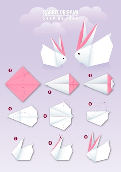 Rabbit origami instruction step by step