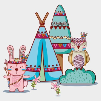 Rabbit and owl tribal animal in the forest