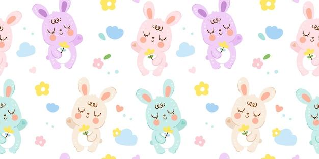 Rabbit pattern cute baby bunny seamless background kawaii animal illustration