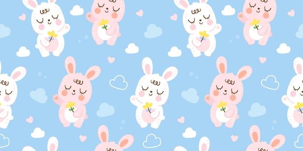 파란색 배경 귀여운 동물 그림에 원활한 토끼 패턴 귀여운 아기 토끼