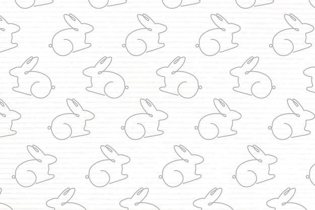 Rabbit pattern white background, seamless line art design vector