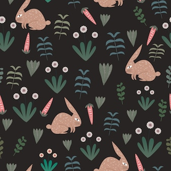 Rabbit pattern with seamless exotic floral theme