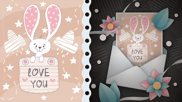 Rabbit in pocket - idea for greeting card