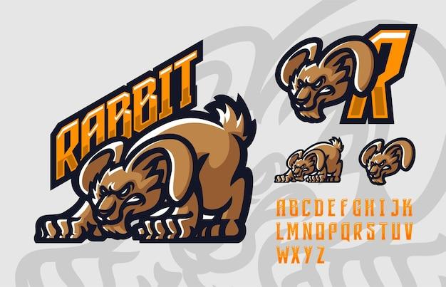 Шаблон логотипа талисмана кролика