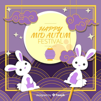 Rabbit puppet mid autumn festival background