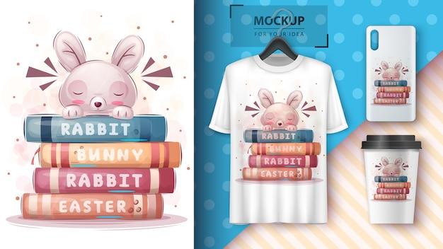 Кролик читает книги, плакат и мерчендайзинг