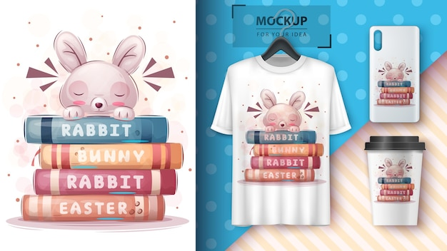 Rabbit reads books poster and merchandising