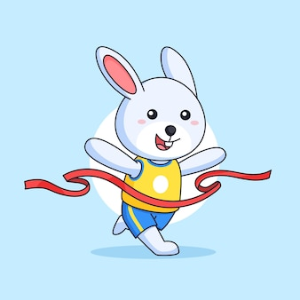 결승점 리본 라인 마라톤에 달린 토끼