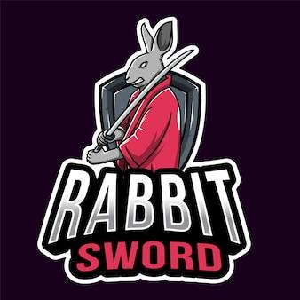 Кролик самурай esport шаблон логотипа