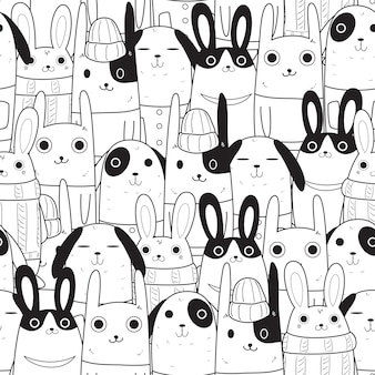 Rabbit seamless pattern