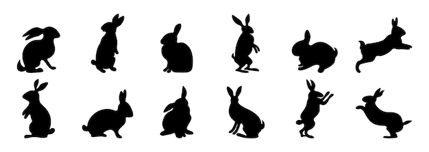 Rabbit silhouette cartoon spring animal in different poses