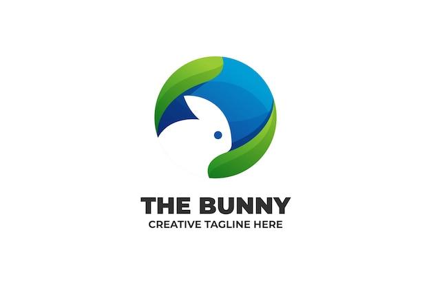 Кролик силуэт градиент бизнес логотип