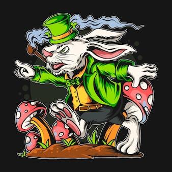 Дизайн футболки с изображением кролика и святого патрика в грибном поле