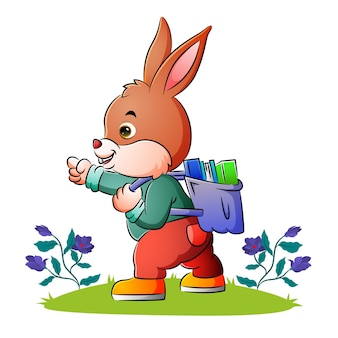 The rabbit student is gesturing something of illustration