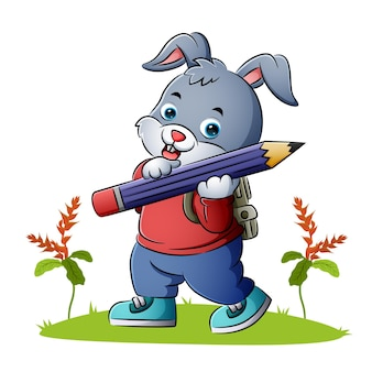 The rabbit student is holding a big pencil of illustration