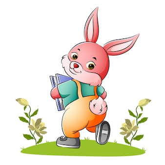The rabbit student is holding a book of illustration