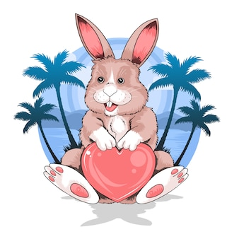 Rabbit summer beach holding love heart vector good for element flyer or thsirt artwork