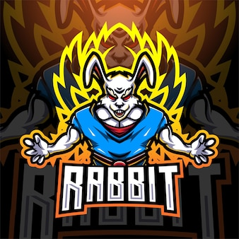Кролик супер киберспорт талисман дизайн логотипа