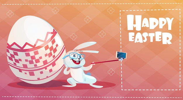 Rabbit taking selfie photo easter holiday bunny decorated eggs greeting card