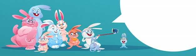 Rabbit taking selfie photo easter holiday bunny group greeting card