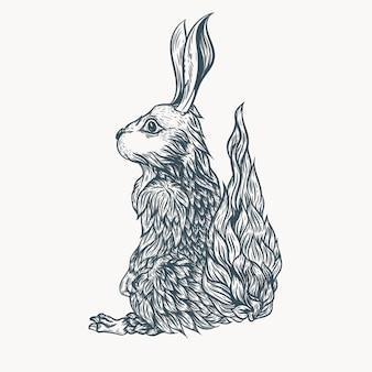 토끼 문신 라인 아트