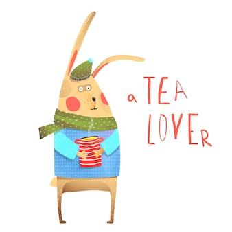 Rabbit and tea drinking