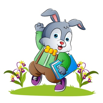 The rabbit teacher is waving the hand in the garden of illustration