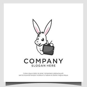 토끼 기술 미디어 로고 디자인 벡터