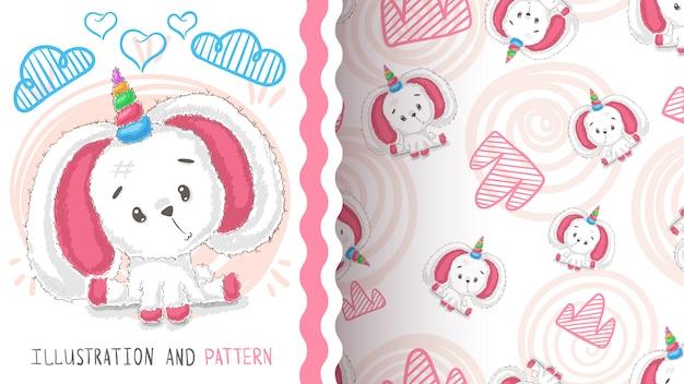 Rabbit, teddy unicorn seamless pattern