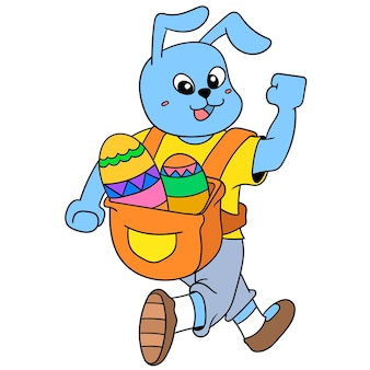 부활절을 축하하며 즐겁게 걷는 토끼는 장식용 달걀, 벡터 일러스트레이션 예술로 가득 찬 가방을 들고 있습니다. 낙서 아이콘 이미지 귀엽다.