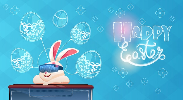 Rabbit wear digital glasses virtual reality decorated eggs easter holiday greeting card