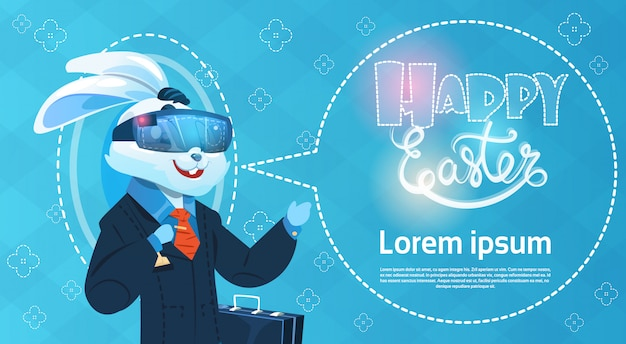 Rabbit wear digital glasses virtual reality easter holiday greeting card