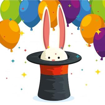 Rabbit wild animal inside hat and balloons festival decoration