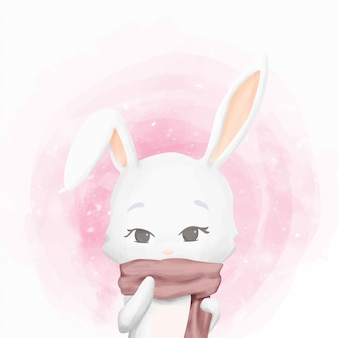 Rabbit on winter wearing scarf