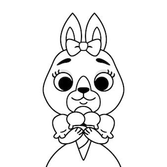 アイスクリームのドレスを着た頭に弓をかぶったウサギ。塗り絵とページのアウトライン印刷。