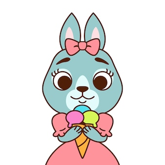 ピンクのドレスにアイスクリームをかぶったうさぎ。グリーティングカード、保育園の装飾用に印刷します。