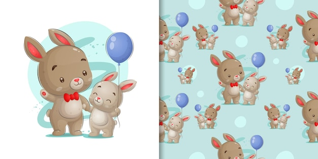 Rabbit with baby rabbit in glossy in pattern illustration