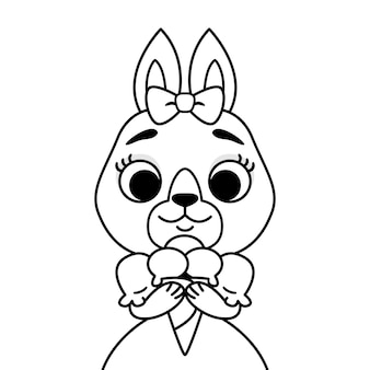 Rabbit with a bow on her head in a dress with ice cream. outline print for coloring book and page.