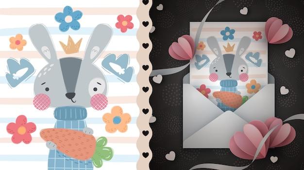 인사말 카드 손 그리기 당근 토끼