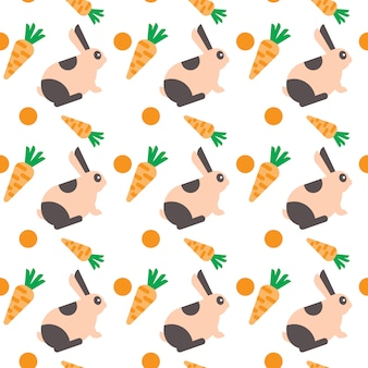 Rabbit with carrot seamless pattern abstract ornament pets concept