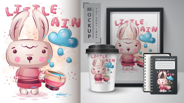 Rabbit with cup poster and merchandising