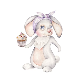 Rabbit with cupcake.cute bakery