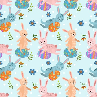 Rabbit with easter egg seamless pattern
