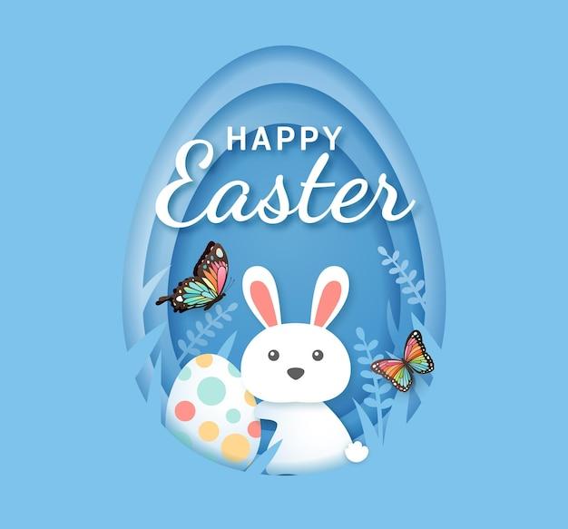 부활절 달걀과 나비 종이 토끼 컷 스타일.