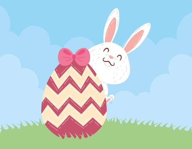 그린 계란 토끼와 활 핑크 행복 한 부활절 축 하 일러스트 디자인