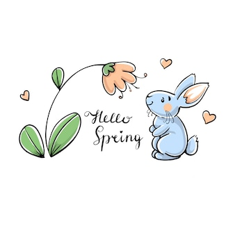 Rabbit with flower, hello spring